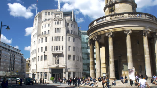 bbc broadcasting house and all souls church, langham place and portland place. - broadcasting stock videos & royalty-free footage