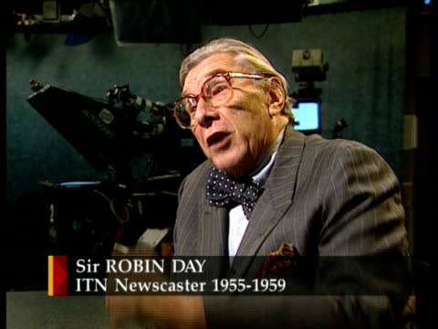 40th anniversary; itn england: london: studio: int cms sir robin day london intvw sot - we knew that we were breaking new ground - robin day stock videos & royalty-free footage