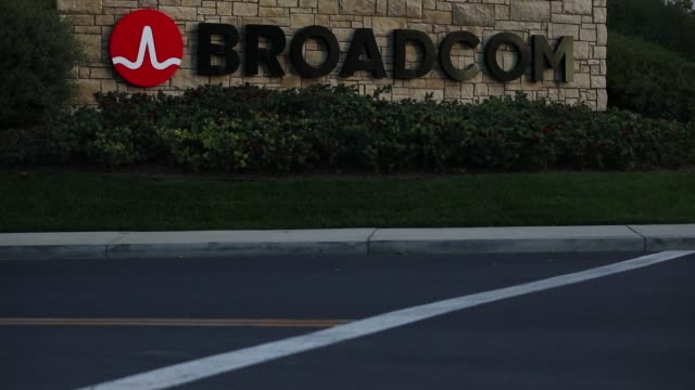 broadcom corp signage is displayed outside of the company's headquarters in irvine california us on monday november 6 2017 photographer patrick t... - irvine california stock videos & royalty-free footage