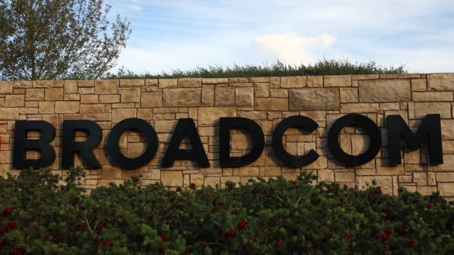 Broadcom Corp signage is displayed outside of the company's headquarters in Irvine California US on Monday November 6 2017 Photographer Patrick T...