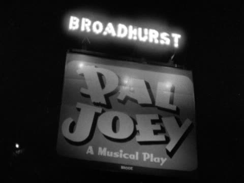 broadhurst theatre sign 'pal joey a musical play' on west 44th street nyc show performance theatre district the great white way - broadway manhattan video stock e b–roll