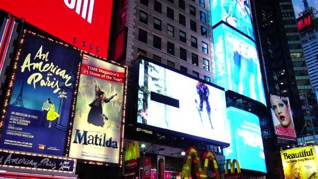 broadway, billboard advertisements, times square - manhattan theater district stock videos and b-roll footage