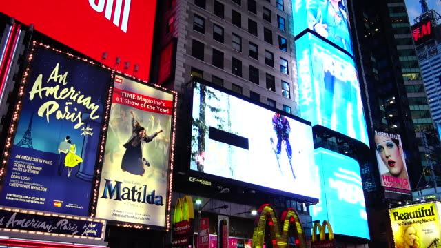 broadway, billboard advertisements, times square - billboard stock videos and b-roll footage