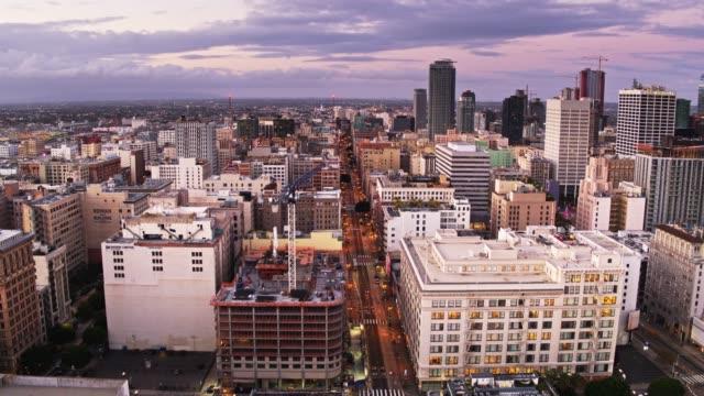 Broadway, Los Angeles at Dawn - Aerial Establisher