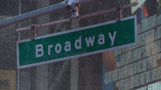 A Broadway street sign in the snow.