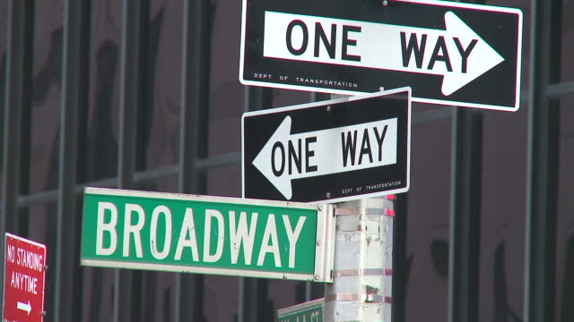 hd: broadway street signs - road sign stock videos & royalty-free footage