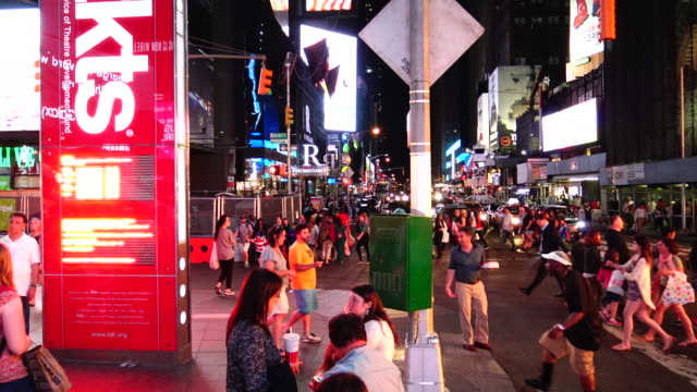 tkts, broadway, time square, new york city - broadway manhattan video stock e b–roll
