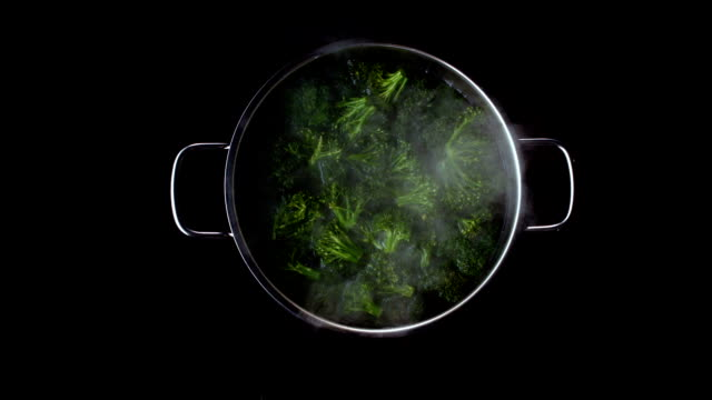 broccoli boiling in pot
