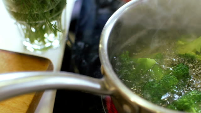 Broccoli boiling in pot