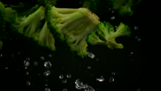 broccoli falling slow motion on black background - broccoli stock videos & royalty-free footage