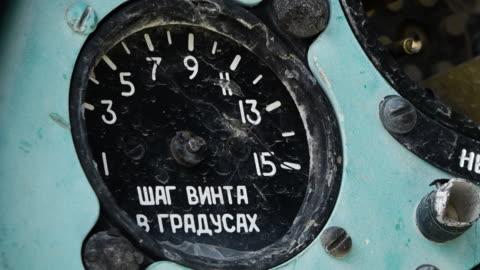 stockvideo's en b-roll-footage met broken blue russian dashboard - litho