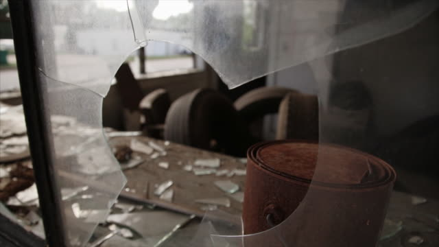 broken glass in abandoned town - window display stock videos & royalty-free footage