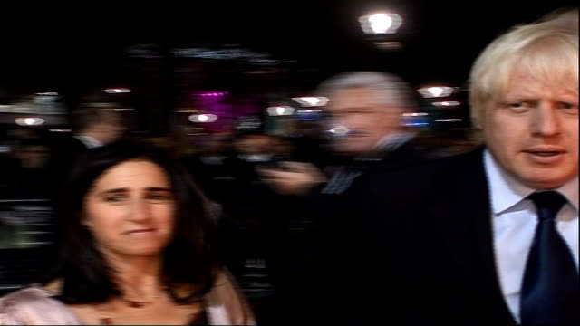 'broken lines' and 'genova' premiere at the london film festival boris johnson along on red carpet as speaks to reporter sot - journalist stock videos & royalty-free footage