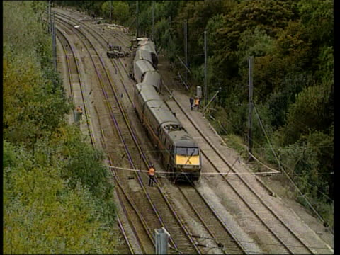 broken rail confirmed as cause of crash itn bong derailed train at hatfield - hatfield stock videos and b-roll footage
