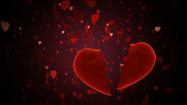 broken red heart . loop - broken heart stock videos and b-roll footage