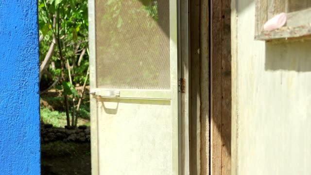 a broken screen door swings in the wind and makes a loud noise - ajar stock videos & royalty-free footage