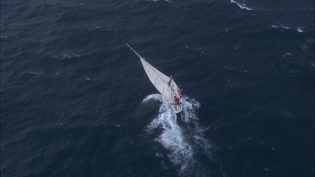 vidéos et rushes de brokenwood cutting through choppy sea: the 54ft yacht sailed by sailors with disabilities in the 2009 sydney to hobart yacht race. skippered by david pescud, australia - équipage de bateau