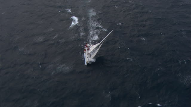 vídeos de stock e filmes b-roll de brokenwood, the 54ft yacht sailed by sailors with disabilities in the 2009 sydney to hobart yacht race. skippered by david pescud, australia - vela desporto aquático