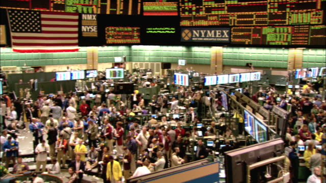 brokers work the floor of the new york mercantile exchange. available in hd. - exchange stock videos and b-roll footage