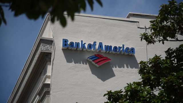 broll exteriors of bank of america branch ahead of earnings report - bank of america stock videos & royalty-free footage
