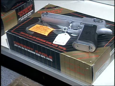 broll footage of guns on display in the nra building - national rifle association stock videos & royalty-free footage