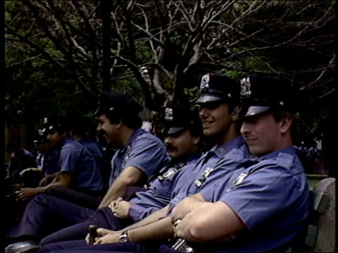 roll footage of nypd officers during a 1992 rally against nuclear arms in central park. - 1982 stock videos & royalty-free footage