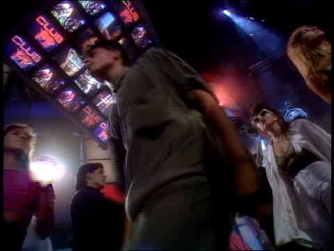 stockvideo's en b-roll-footage met broll footage of people dancing for club mtv in 1991 - 1991