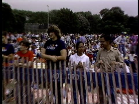 BRoll footage of people gathering during a 1982 rally against nuclear arms in Central Park