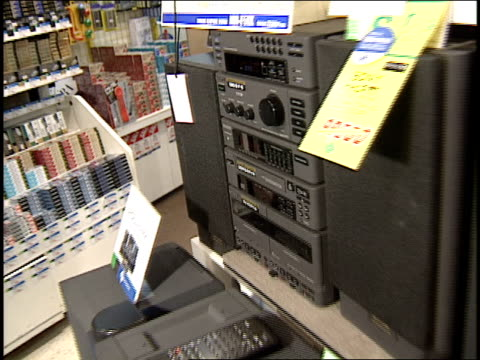 broll footage of stereos on sale in an electronics store - stereo personale video stock e b–roll