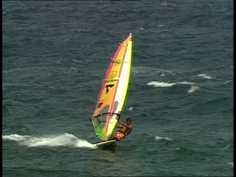 BRoll footage of windsurfers in 1988 Maui