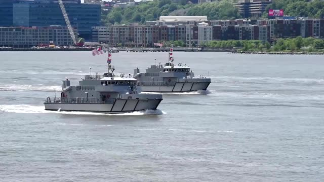 roll from the parade of ships rolling in to new york city, new york for fleet week new york, may 23, 2018. image courtesy cpl. samantha bray/defense... - b roll stock-videos und b-roll-filmmaterial