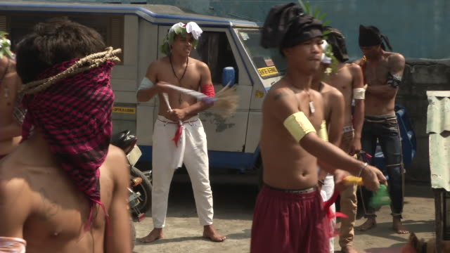 BRoll of annual crucifixion reenactment preparation in the Philippines