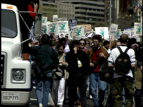 broll of pov of being in protest in 1992 washington dc - 1992 stock videos & royalty-free footage