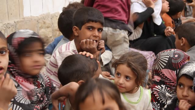roll of children at a refugee camp in sahban. they were displaced due to the battle of amran. - yemen stock videos & royalty-free footage