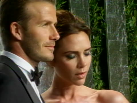 roll of david beckham and wife victoria at 2012 vanity fair oscar party red carpet. this was after the academy awards ceremony. - oscar party stock videos & royalty-free footage