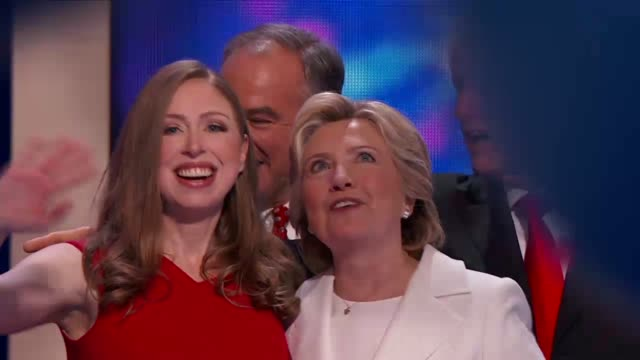 Broll of Democratic Party Presidential Nominee Hillary Clinton joined on stage by former President Bill Clinton daughter Chelsea Clinton Vice...