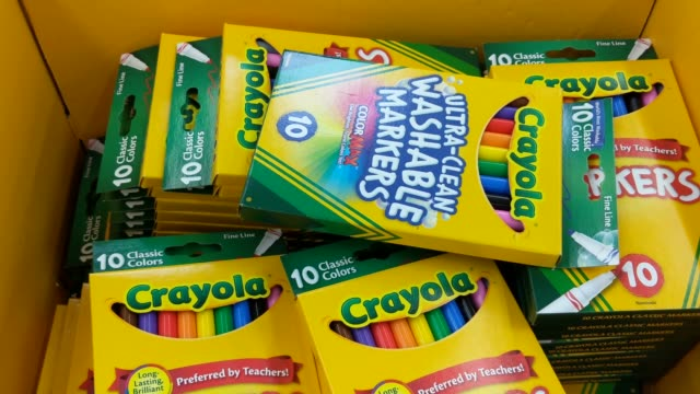 BRoll of different Crayola Products