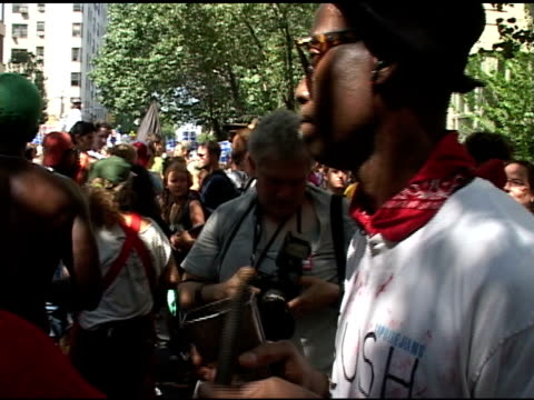 roll of people playing drums protest in nyc - 2004 stock videos & royalty-free footage