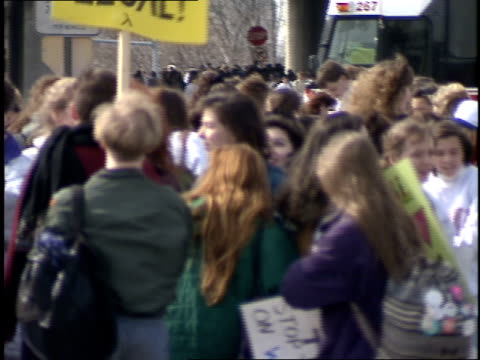 broll of people walking to a protest in washington dc - anno 1992 video stock e b–roll