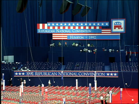 broll of preparations of convention hall at 1992 republican national convention - 1992 stock videos & royalty-free footage