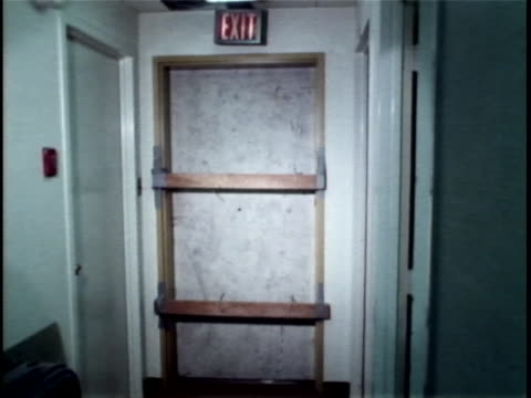 roll of the fire escape door that burglars broke to enter offices at the watergate complex. the watergate incident is a political scandal resulting... - resignation of richard nixon stock videos & royalty-free footage