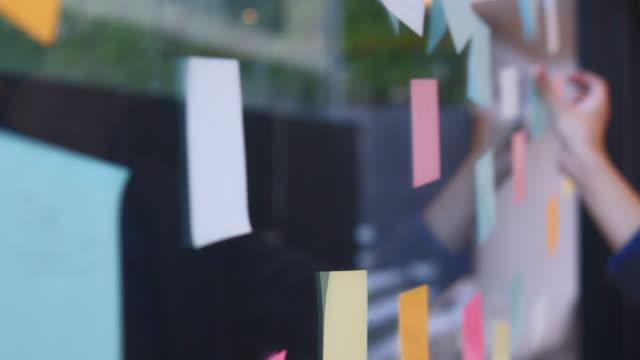 vídeos de stock, filmes e b-roll de cena do b-rolo das mãos do homem de negócios que trabalham na idéia creativa do brainstorm com post-it na parede de vidro - b roll