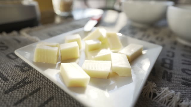 b-roll video of cheese pieces. - mozzarella stock videos & royalty-free footage
