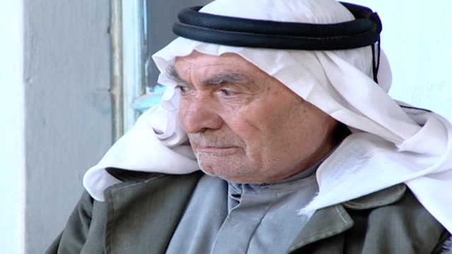 broll view of the face of an old man from jabaadine wearing a white keffiyeh the people of jabaadine speak a dialect of syriac or aramaic the... - senior men stock videos & royalty-free footage