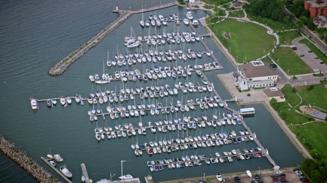 aerial bronte outer harbour marina in oakville, ontario - marina stock videos & royalty-free footage