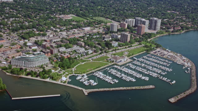 aerial bronte outer harbour marina, oakville, ontario - ontario canada stock videos & royalty-free footage