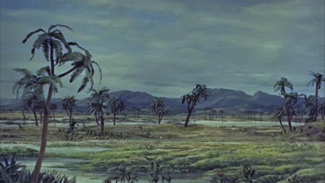CGI, WS brontosaurus dinosaur in prehistoric landscape