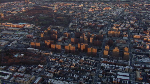 Bronx aerial landscape with high rise apartment buildings. Claremont Village is home to several housing projects owned by the New York City Housing Authority.