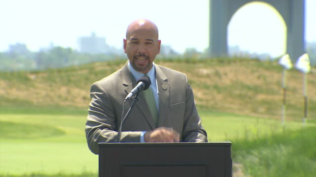 bronx borough president ruben diaz jr praises the looks of the new trump golf links and commends how far it has come he also thanks donald trump for... - golf links stock videos and b-roll footage