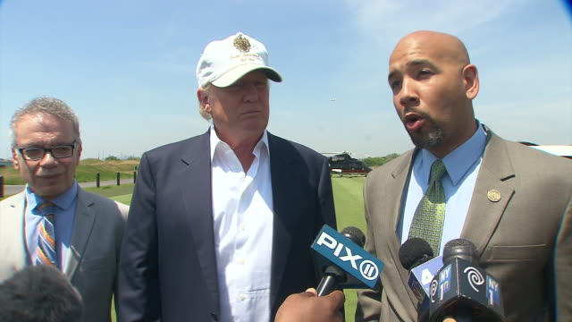 bronx borough president ruben diaz jr says they could not have completed this project without donald trump he talks about how the land used to be a... - golf links stock videos and b-roll footage